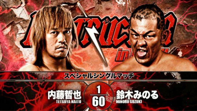 Risultati immagini per Tetsuya Naito vs Minoru Suzuki NJPW Destruction 2018