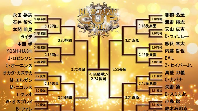 New Japan Cup 2019 First round matches for the 32 man New Japan Cup