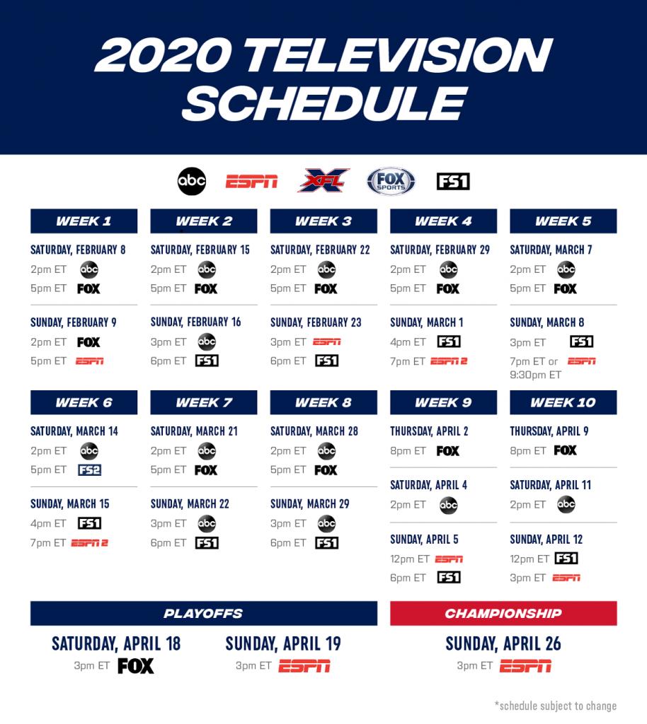XFL Broadcast Schedule